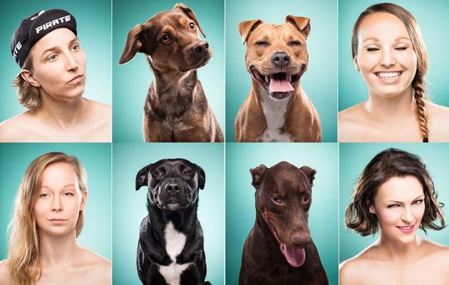 Retratos de dueños posando como sus perros