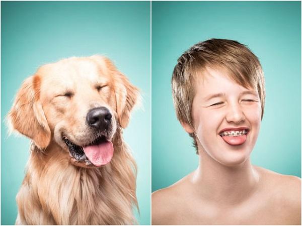 Retrato con su perro