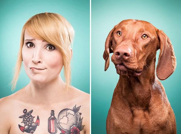 perro y su dueña misma cara