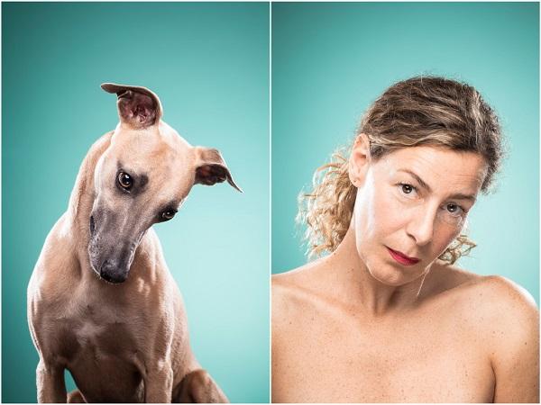 retrato perro y humano